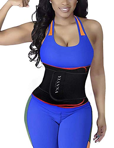 YIANNA Waist Trainer Slimming Body Shaper Belt - Sport Girdle Waist Eraser Trimmer Compression Belly Fitness Tummy Control, YA8010-Red-(S)