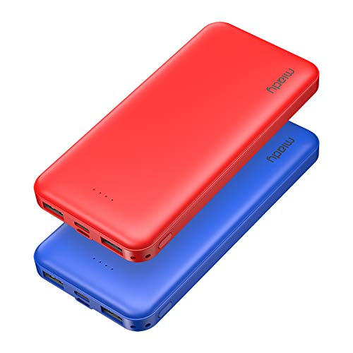 2-Pack Miady 10000mAh Dual USB Portable Charger, Fast Charging Power Bank with USB C Input, Backup Charger for iPhone X, Galaxy S9, Pixel 3 and etc (Red & Blue) …