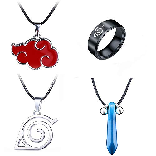 Imcneal 4Pack Cartoon Naruto Akatsuki Necklaces Itachi Uchiha Metal Cosplay Necklaces Pendant Ring