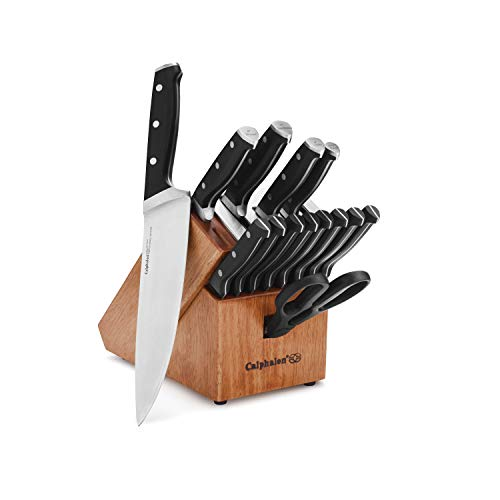 Calphalon Classic Self-Sharpening 15-Pc. Cutlery Knife Block Set,Brown