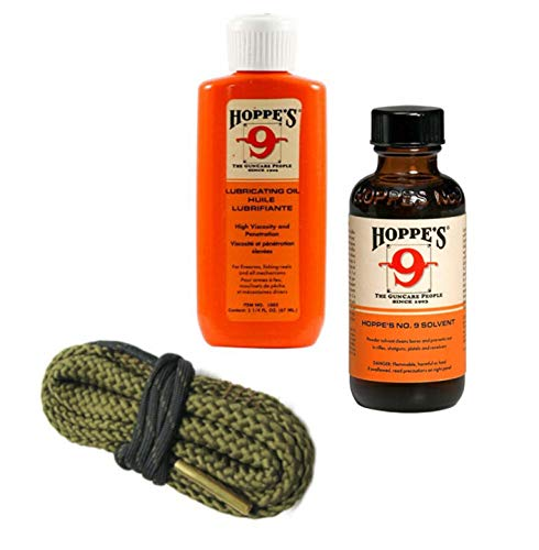 9mm Quality Gun Cleaning Bore Snake, Hoppes No. 9 Bore Cleaner and Lube Oil Also .357.38.380 Caliber