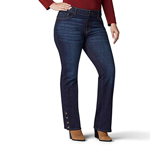 Lee Women's Plus-Size Flex Motion Regular Fit Bootcut Jean, Royal Skyline snap Hem, 26W Medium