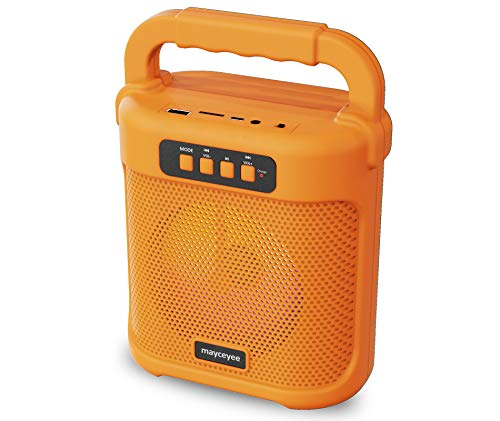 mayceyee Bluetooth Speaker with FM Radio, Rechargeable Portable Speaker with Led Light Flash, USB and Micro SD Card Input and AUX-in, Stero Wireless Speaker for Gatherings, Outdoor and Gym (Orange)