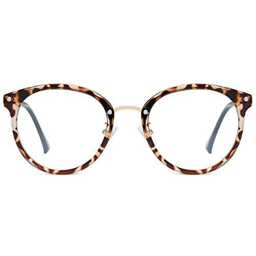 SOJOS Retro Round Blue Light Blocking Glasses TR90 Computer Eyeglasses Ashley SJ9001 with Leopard Print Frame/Anti-Blue Light Lens
