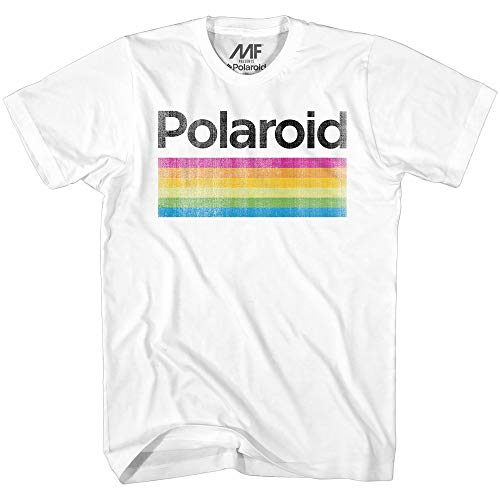 Mad Engine Men's Classic Polaroid Logo Vintage Style Rainbow T-Shirt, White, Small