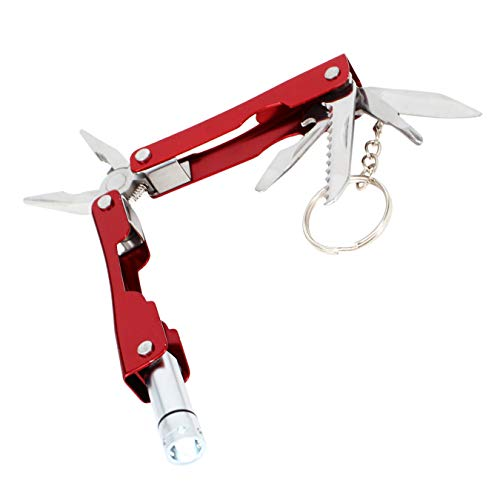 JIUMX Mini 8-In-1 Stainless Multitool Pliers,EDC Portable KeyChain,Multi Sets Useful Tools With Flashlight for Outdoor Camping, Hiking,Cycling