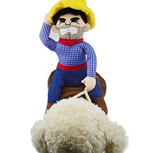 YOFIT Pet Cowboy Rider Costume for Dogs and Cats, Cotton Suit with Doll and Hat Adjustable for Puppy Cosplay Clothes for Parties Carnivals and Daily use