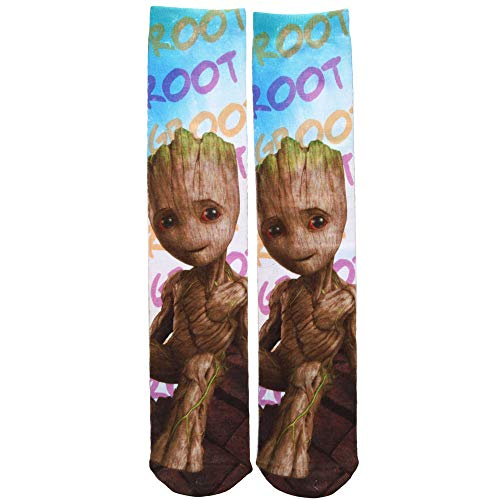 Guardians of the Galaxy Vol. 2 Baby Groot Sublimated Adult Crew Socks, Multi (Blue/Red), Shoe: 6-12