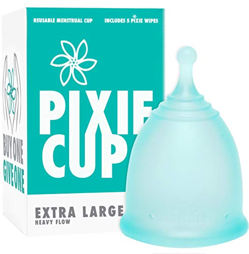 Pixie Menstrual Cup - Ranked 1 for Most Comfortable Reusable Period Cup and Best Removal Stem - Tampon and Pad Alternative - Every Cup Purchased One is Given to a Woman in Need! (X-Large - Heavy Flow)