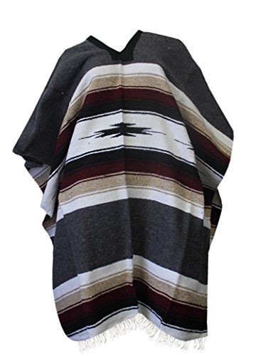 Del Mex Mexican Diamond Woven Eastwood Poncho (Charcoal Gray)