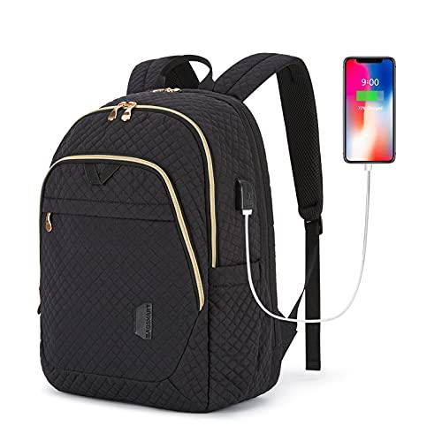 Laptop Backpack BAGSMART Travel Backpacks 15.6'' Computer Bag College School Work Daily Back Packs for Women&Men Black