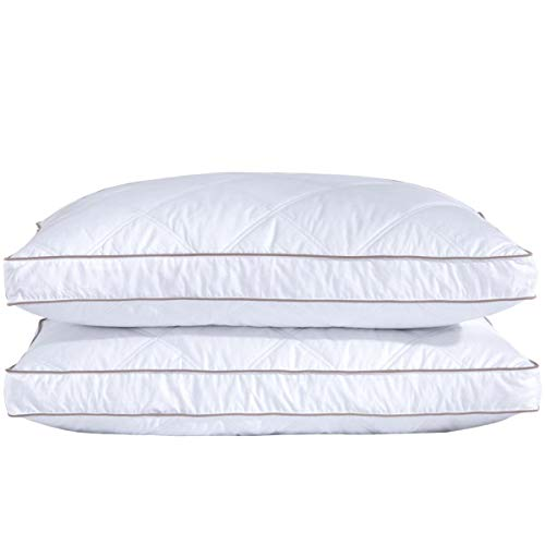 puredown Goose Down Feather Pillows for Sleeping Down Pillow 100% Cotton Pillow Cover Downproof King Set of 2