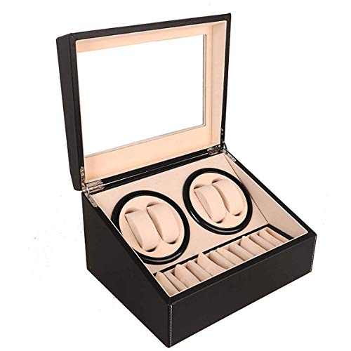 DSHUJC Automatic Watch Winder Display Box, 4+6 Automatic Rotation Leather Wood Watch Winder Storage Display Box Watch Case (Black)