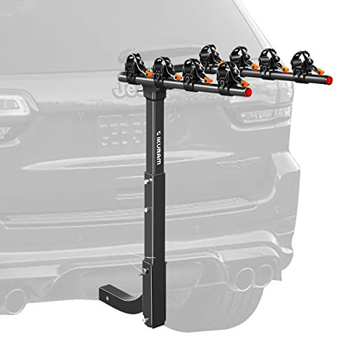 IKURAM 4 Bike Rack Bicycle Carrier Racks Hitch Mount Double Foldable Rack for Cars, Trucks, SUV's and minivans with a 2' Hitch Receiver