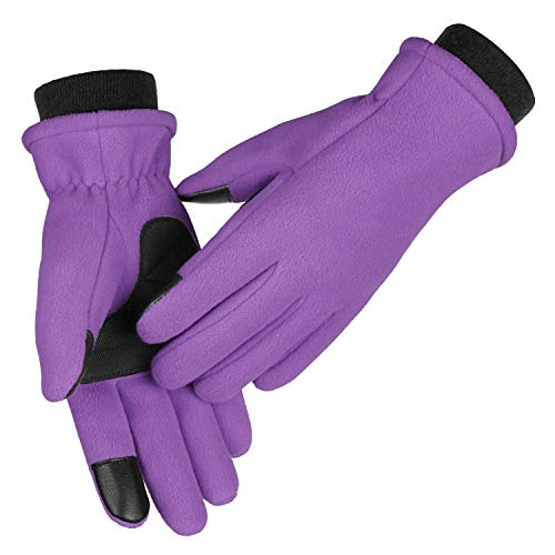 Phone Gloves for Women Touchscreen Anti-Slip Soft Winter Cold Proof Thermal Fleece Insulated Water-Resistant Windproof Warm in Cold Weather for Walking Dog Running Cycling (XL,Purple)