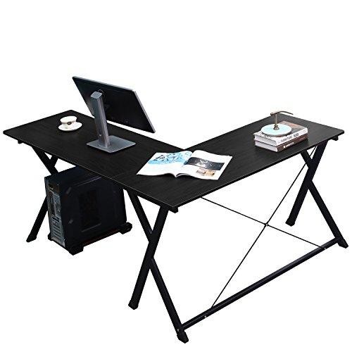 soges 62 inches L Shape Computer Desk Large Corner Desk, Office Table Writing Desk Computer Workstation, Black