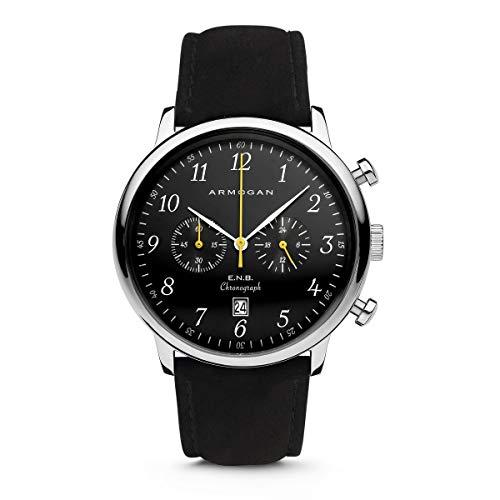 Armogan E.N.B - Silver Black S36 - Men's Chronograph Watch Black Suede Leather Strap