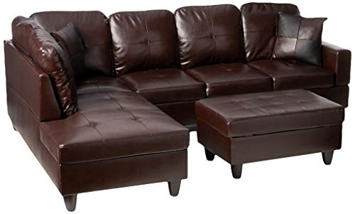 Beverly Fine Furniture Left Facing Russes Sectional Sofa Set With Ottoman, Brown