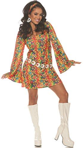 UNDERWRAPS Women's 1960s Retro Hippie Costume Dress Set, Multi, Medium