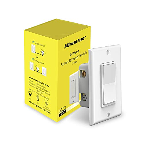 Z-Wave Dimmer Switch in Wall Light Switch, Neutral Required, Support 3-Way Installation Works with Smartthings, Wink, Signal Repeater, Z-Wave Hub Required, White(MS11Z)