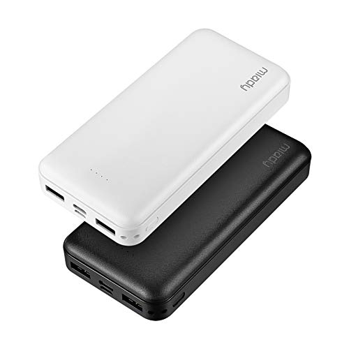 2-Pack Miady 20000mAh Portable Charger Power Bank, Dual USB Output and USB-C Input, Fast Charging Battery Pack Charger for iPhone X, Galaxy S9, Pixel 3 and etc