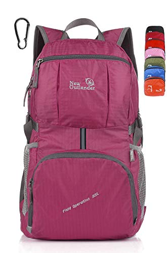 Outlander Packable Lightweight Travel Hiking Backpack Daypack (New Fuschia)