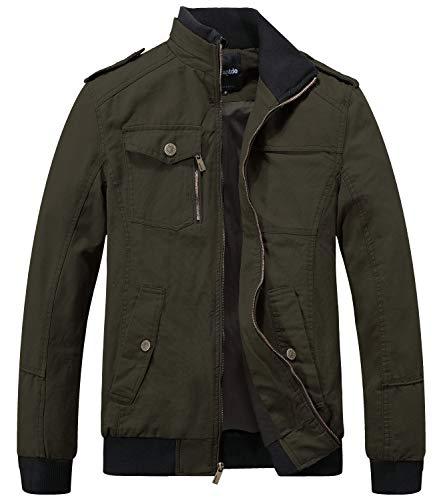 Wantdo Men's Military Cotton Stand Collar Windbreaker Jacket Medium Army Green
