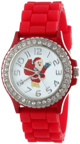 Geneva Women's 5573_xmasredsanta Holiday Boyfriend White Dial with Santa and Crystals Watch