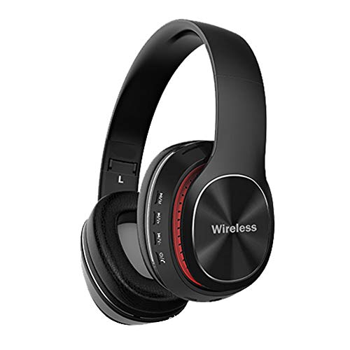 Wsaman Wireless Bluetooth Headphones Over Ear, Wireless Earphones for Work/Travel Headset with Deep Bass Earphones Foldable with Mic Noise Cancellation for Airpods/Android/Gaming/PC Earbuds,Black