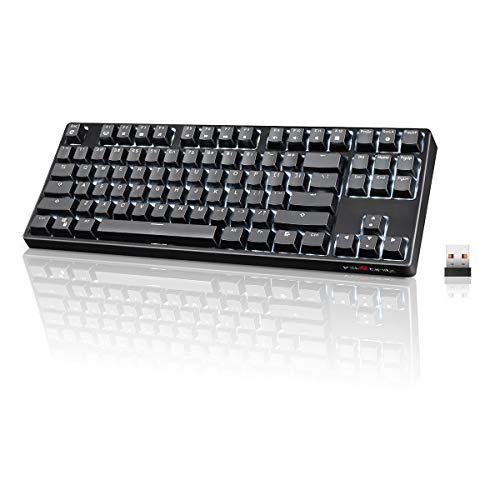 Wireless Mechanical Keyboard, VELOCIFIRE TKL02WS 87 Key Tenkeyless Ergonomic with Linear Red Switches, and White LED Backlit for Copywriters, Typists, and Programmers(Black)
