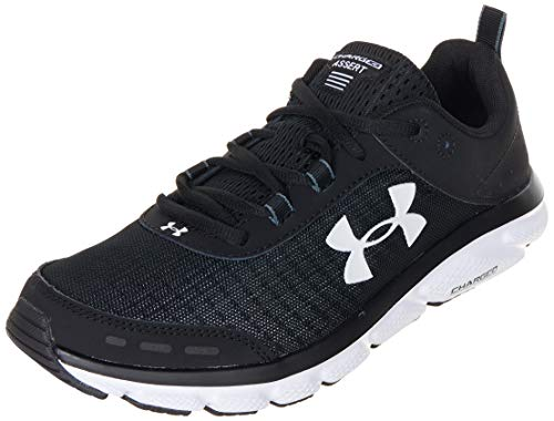 Under Armour mens Charged Assert 8 Running Shoe, Black/White, 9.5 X-Wide US
