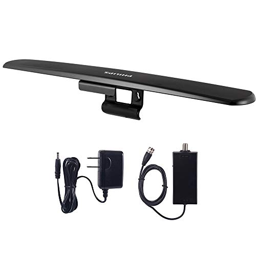 Philips Amplified HD TV Antenna, Easy Mount for Top of TV, Indoor, Long Range, Full 1080P 4K Ultra HDTV VHF UHF, Included Signal Booster Amplifier, SDV7219N/27