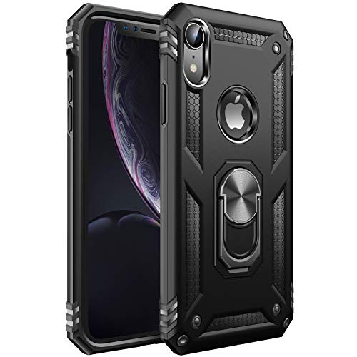 iPhone XR Case [ Military Grade ] 15ft. Drop Tested Protective Case | Kickstand | Wireless Charging | Compatible with Apple iPhone XR- Black