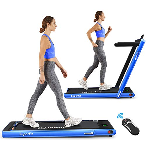 Goplus 2 in 1 Folding Treadmill, 2.25HP Under Desk Electric Treadmill, Installation-Free, with Bluetooth Speaker, Remote Control and LED Display, Walking Jogging Machine for Home/Office Use (Blue)