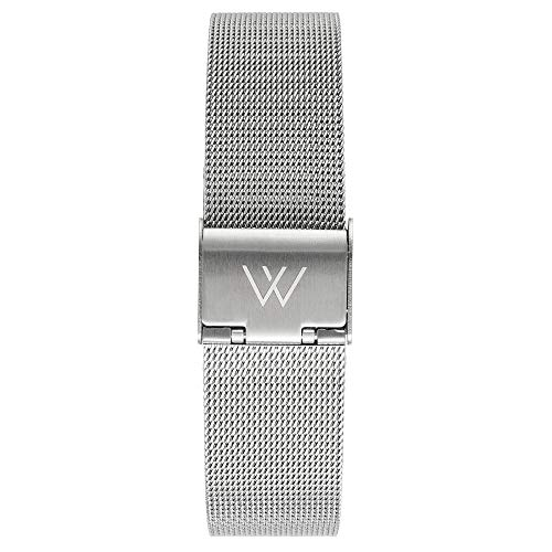 WRISTOLOGY Quick Release Adjustable Interchangeable Metal Mesh Milanese Stainless Steel Watch Band in Silver for Men Women 16 MM