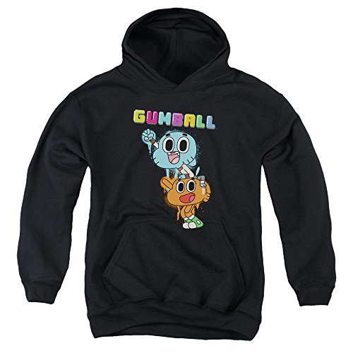 Trevco Amazing World of Gumball Gumball Spray Unisex Youth Pull-Over Hoodie for Boys and Girls, Medium Black