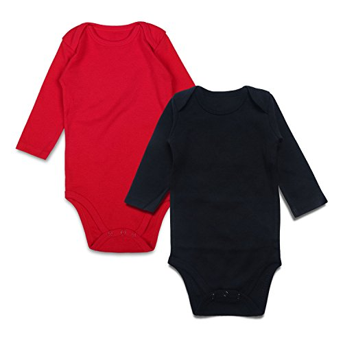 Baby Bodysuit Pack 2 solid color baby onesie with Long Sleeves (3-6m, Black/Red)