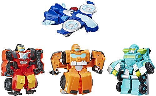 Playskool Heroes Transformers Rescue Bots Academy Rescue Team Pack, 4 Collectible 4.5' Converting Action Figures, Toys for Kids Ages 3 & Up, Brown (E5099)