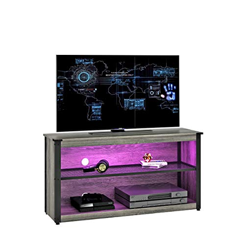 BESTIER 44' Gaming TV Stand for Bedroom Small Gaming Entertainment Center for 50' TV RGB TV Stand with LED Lights Storage Shelves 20 Lights up Corner TV Console Table Living Room, Gray