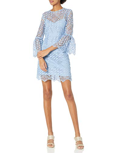 Cynthia Rowley Women's Lace Shift Dress with Bell Sleeves, Slate Blue, 4