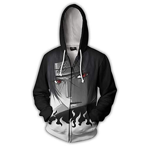 Naruto Sweater/Naruto Jacket Hooded School Uniform/Cosplay Naruto Casual Hoodie - 3D Pullover Apparel (Gray, 2XL)