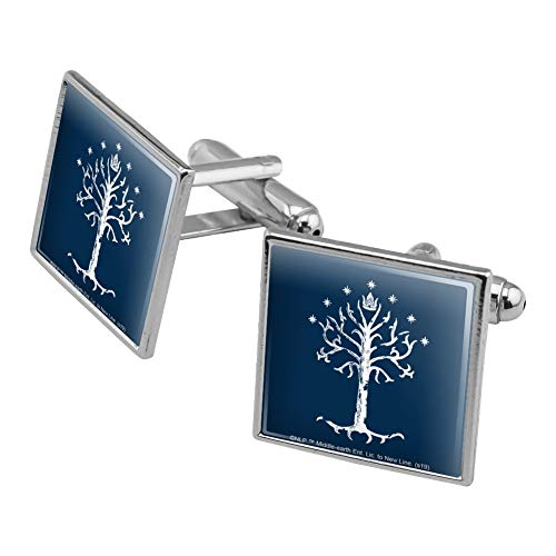 GRAPHICS & MORE Lord of The Rings Tree of Gondor Square Cufflink Set - Silver or Gold