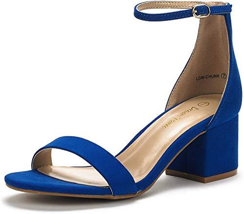 DREAM PAIRS Women's Low-Chunk Royal Blue Low Heel Pump Sandals - 10 M US