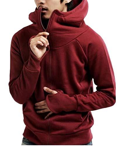 Fubotevic Men Thumb Hole Full-Zip Solid Hooded Sweatshirts Jacket Coat Wine Red L