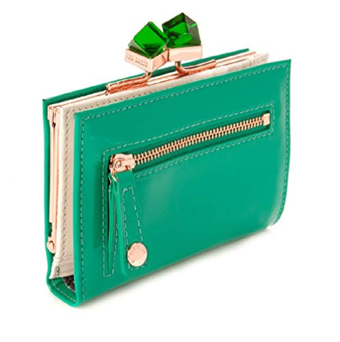 Ted Baker Patent Crystal Frame Small Wallet,Green,One Size