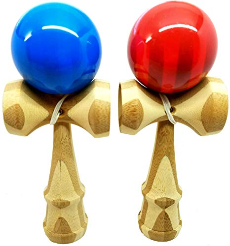 KENDAMA TOY CO. 2 PACK - The Best Kendama For All Kinds Of Fun (full size) - Awesome Colors: Blue/Bamboo Red/Bamboo Set - Solid Bamboo Wood - A Tool To Create Better Hand And Eye Coordination
