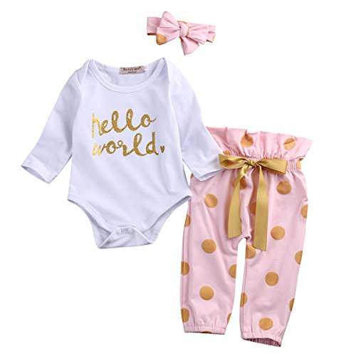 3Pcs Infant Newborn Baby Girls Hello World Romper Tops+Pants Clothes Outfit Sets (0-6 Months, White)