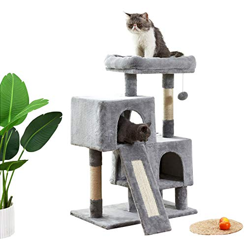 Merax Cat Tree,Cat Trees and Towers Apartment with Sisal Grab Bar, Grab Board, Plush and Double Room, Cat Tower Furniture, Kitten Activity Center, Kitten Play House(Grey