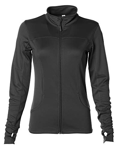 Global Women's Slim Fit Lightweight Full Zip Yoga Workout Jacket Large Black