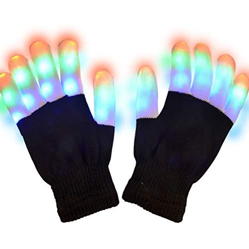 Odema Unisex Light Gloves Children Finger Flashing LED Gloves for Birthday Party Christmas Black